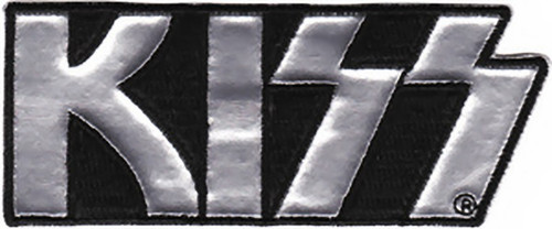 Kiss Iron-On Patch Silver Chrome Letters Logo