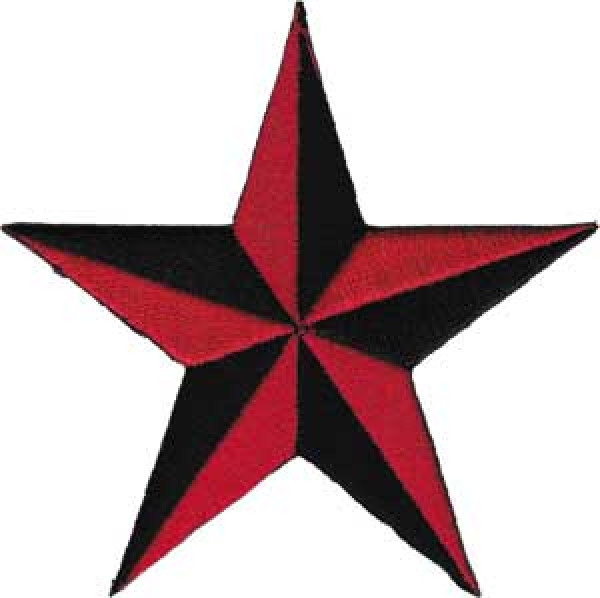 Nautical Star Iron-On Patch Red And Black
