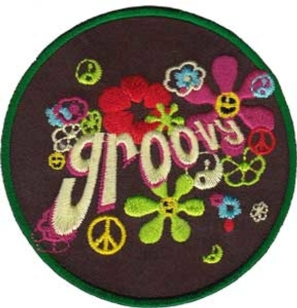 Groovy Iron-On Patch Round Flower Power Peace Sign