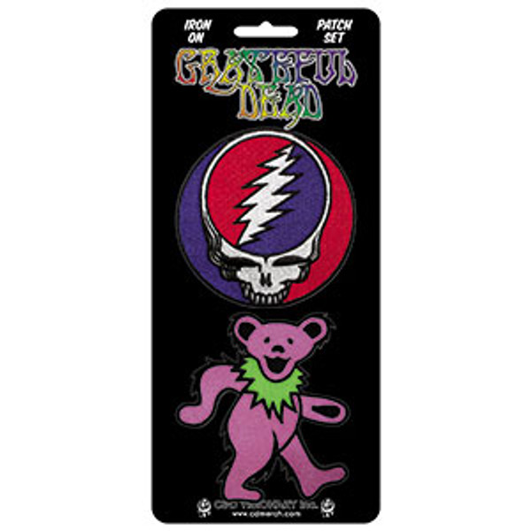 Grateful Dead Iron-On Patch Set Skull And Bear