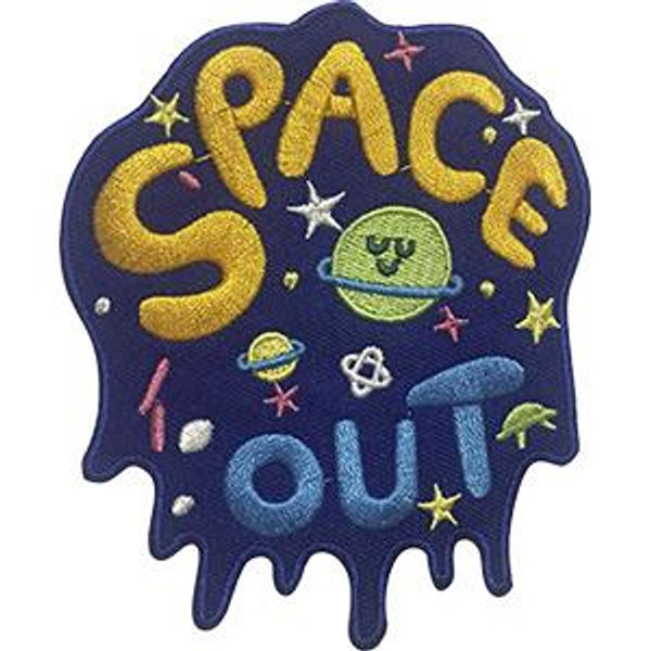 Space Out Iron-On Patch Stars Letters Logo