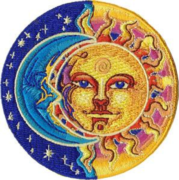 Sun And Moon Iron-On Patch Round