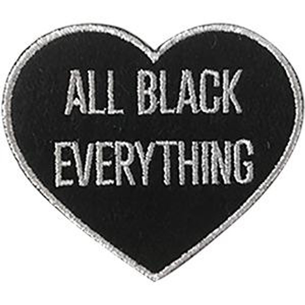 All Black Everything Iron-On Patch Heart Logo