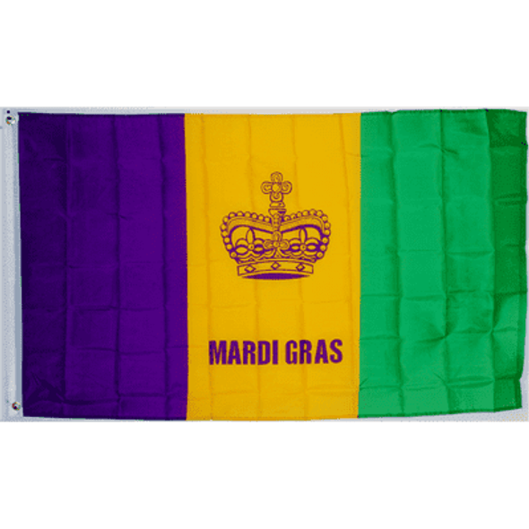 Mardi Gras (Fat Tuesday) Flag 3x5 ft Economical
