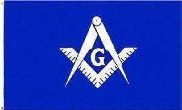 Masonic Blue Lamp; White Flag 3 X 5 ft. Standard