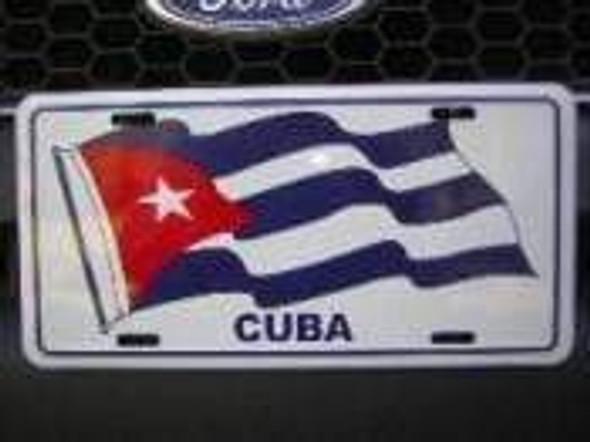 Cuba Flag Waving License Plate