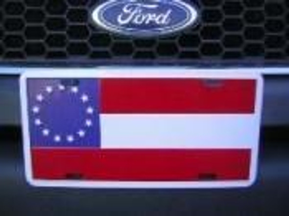 Confederate 1st National 13 Stars & Bars - License Plate
