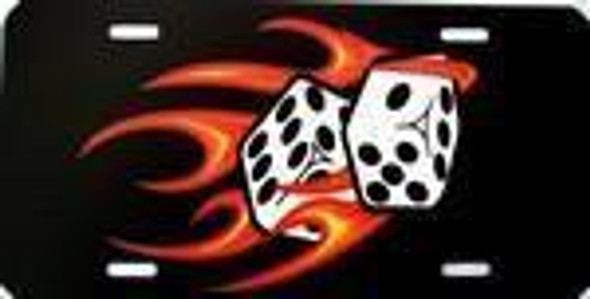 Red Hot Flaming Dice License Plate