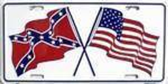 Confederate / USA Crossed Flags USA Made License Plate