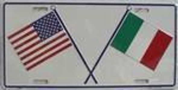 USA / Italy Crossed Flags license plate