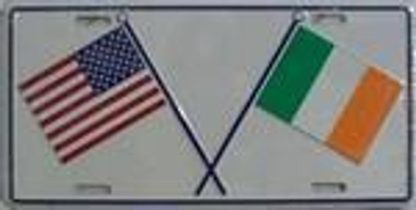USA Ireland Crossed Flags license plate