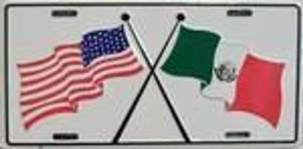 USA / Mexico Flags License Plate