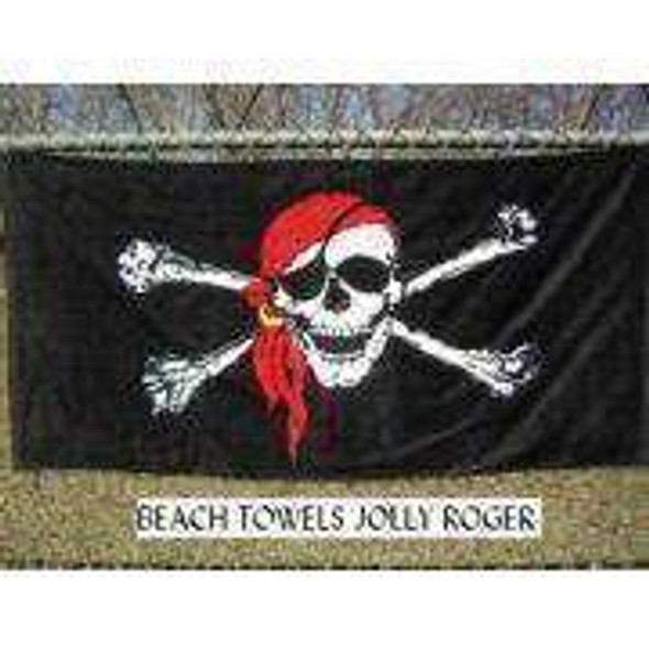 Jolly Roger Red Hat Beach Towel