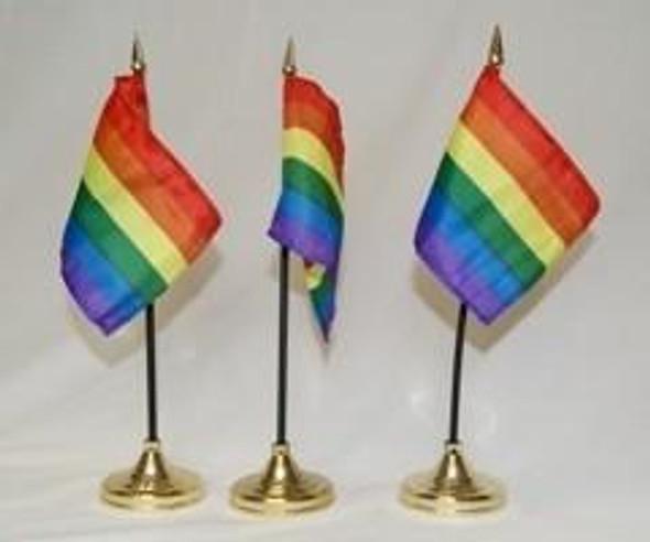 Rainbow Flag 4 X 6 inch n stick