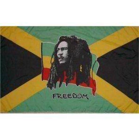 Bob Marley Freedom Flag 12x18 inch on stick