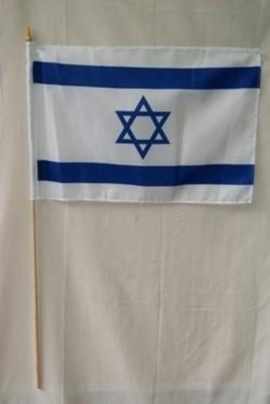 Israel Flag 12 x 18 inch on a stick