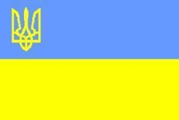 Ukraine with Crest Flag 12 X 18 inch on stick