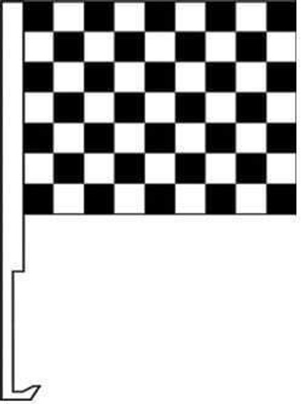 Black and White Checkered Window Clip Flag