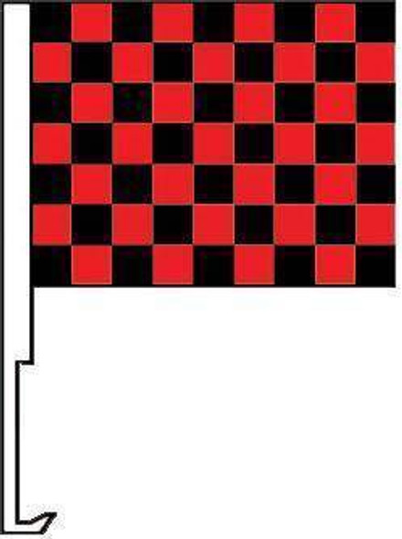 Black and Red Checkered Window Clip Flag