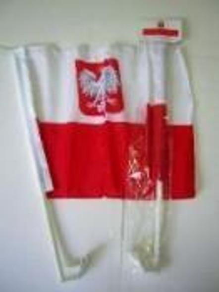 Old Poland with Eagle Single Sided Car Flag