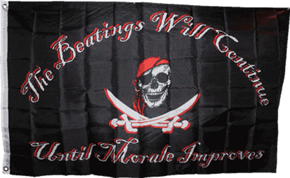 Pirate Red Hat Beatings Will Continue Flag 3x5 ft Economical