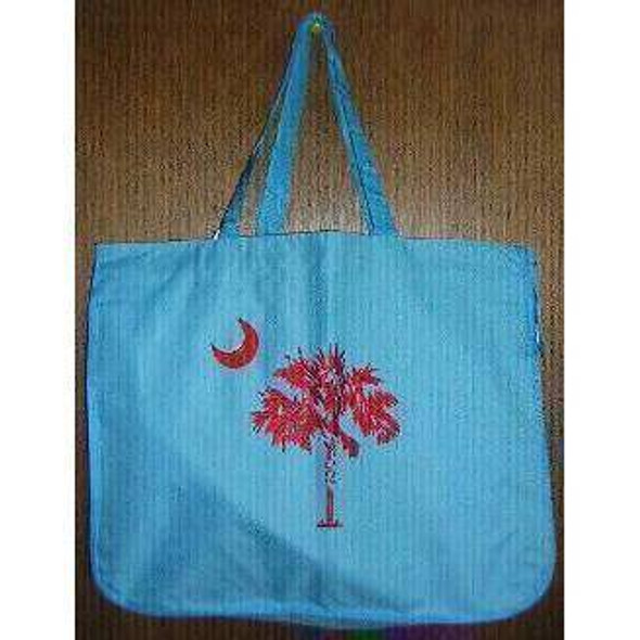 Blue and Pink South Carolina Beach Bag