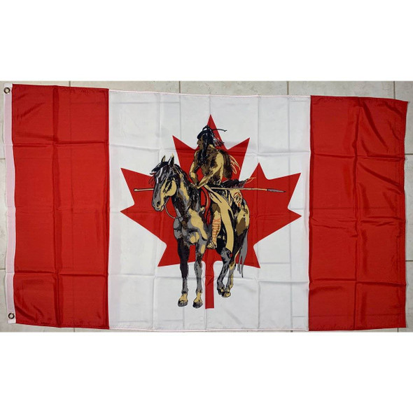Canadian Flag with Indian on Horse 3x5 ft. Standard