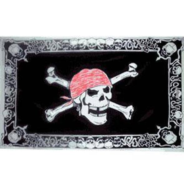 Pirate With Skull Border Flag 3 X 5 ft. Standard