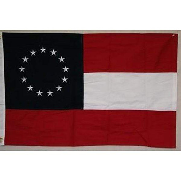 1st National Confederate Flag - 13 Star - Stars and Bars - Cotton