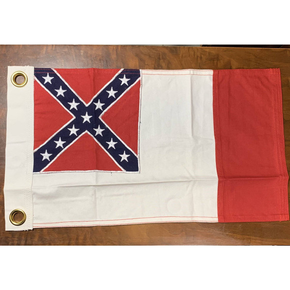 3rd National Confederate Flag - CSA - cotton - 12 X 18 inch with grommets