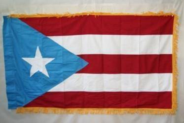 Light Blue Puerto Rico with Fringes Cotton Flag 3x5 ft.