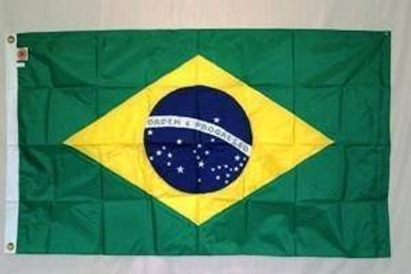 Brazil Nylon Embroidered Flag 3 x 5 ft.