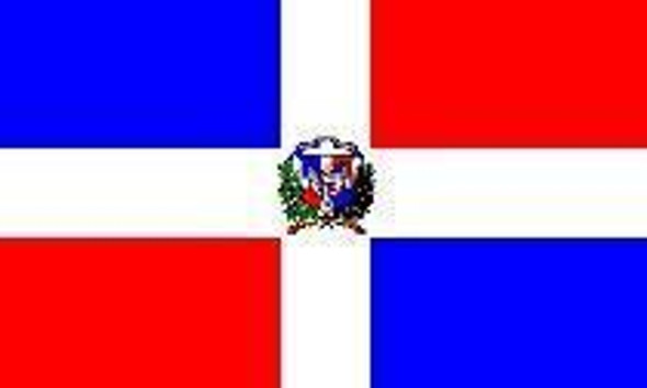 Dominican Republic Nylon Embroidered Flag 3 x 5 ft.