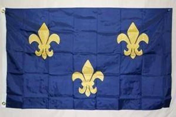 Fluer De Lis Blue Nylon Embroidered Flag 8 x 12 ft.