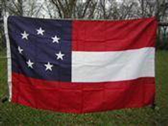 1st National Confederate 7 Stars and Bars Nylon Embroidered Flag 3 x 5 ft. 210D