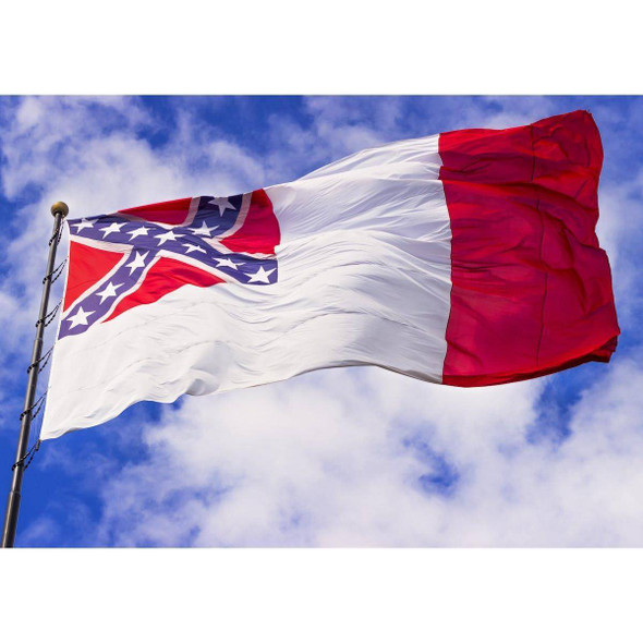 10x15 3rd National Confederate Flag 2 ply Nylon Embroidered