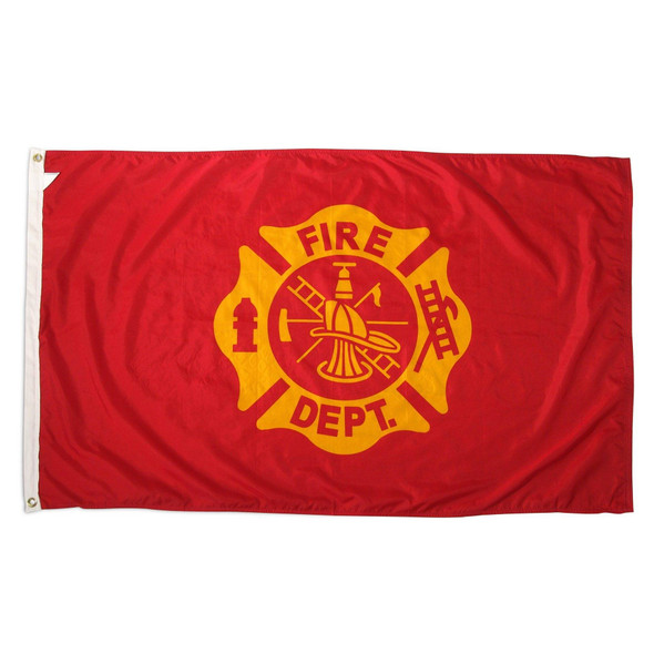 Fire Dept Double Sided Embroidered Flag 3 x 5 ft. 210D