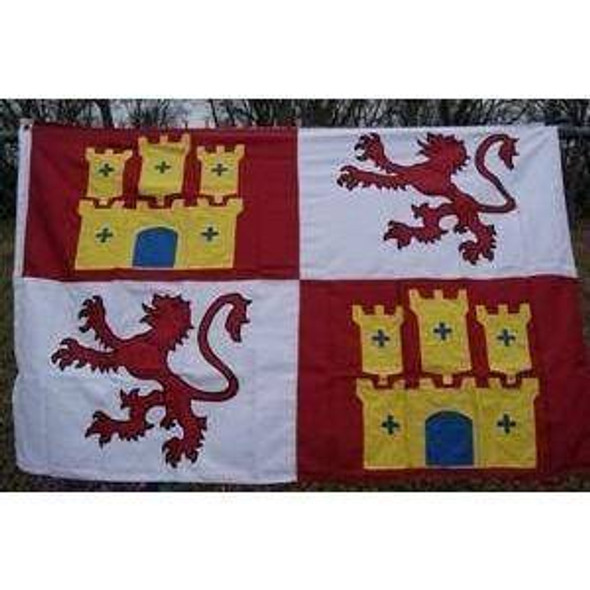 Spain Lion and Castle Double Nylon Embroidered Flag 4x6 ft.