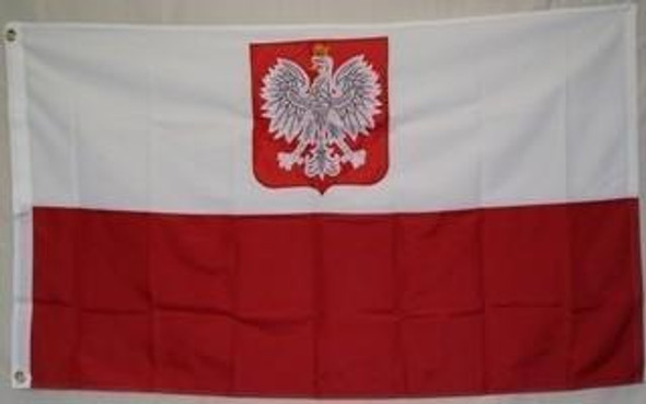 Old Poland Flag with Eagle 2 ply Nylon Embroidered 3x5 ft