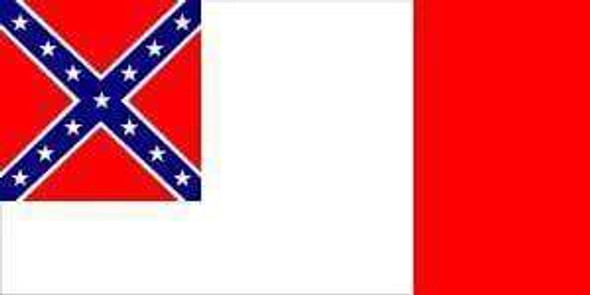 Third (3rd) Confederate Flag 12 x 18 inch on Stick