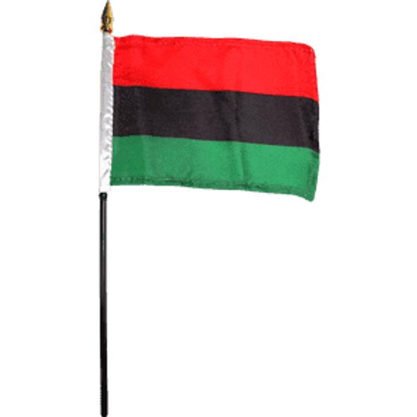 African-American Flag (UNIA Flag) 4x6 inch on stick