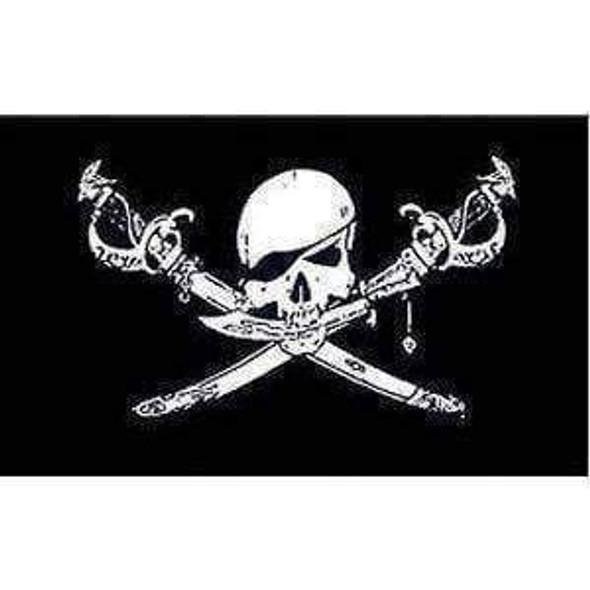 Pirate Flag, Brethren Of the Coast Jolly Roger Flag 4 X 6 inch on stick