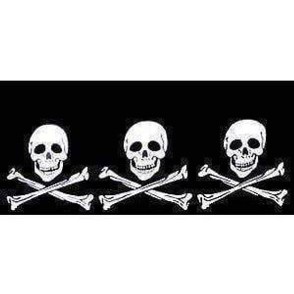 3 Skulls Jolly Roger Pirate Flag 12 x 18 inch on Stick