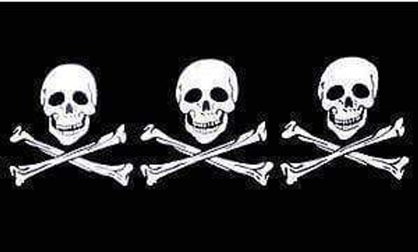 3 Skulls Jolly Roger Pirate Flag 4x6 inch on stick