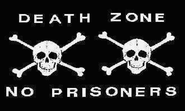 Pirate Flag Death Zone Jolly Roger, Pirate No Prisoners Flag 12 x 18 inch on Stick