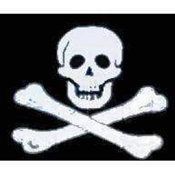 Jolly Roger No Patch Pirate Flag 12 x 18 inch on Stick