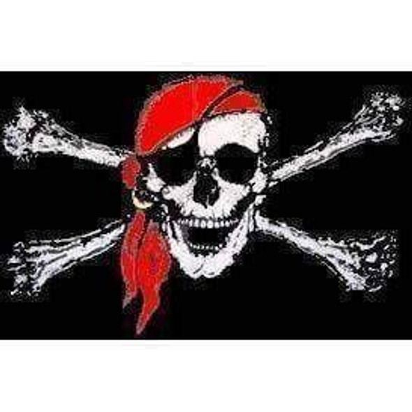 Jolly Roger Red Hat Flag 12 x 18 inch on Stick
