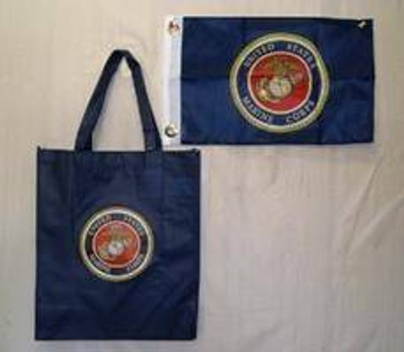 Blue Marine Corps Shopping Bag With Flag