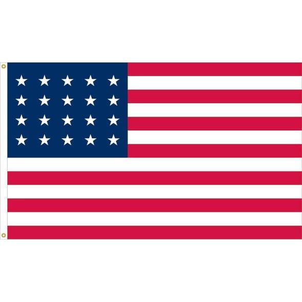 20 Star U.S. 3x5 Nylon Fully Sewn Flag - Made in USA