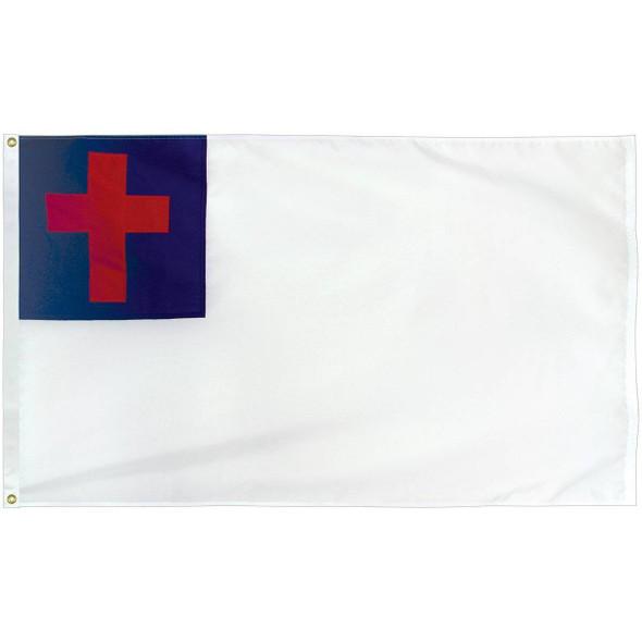 Christian Flag-Nylon Appliqué - Indoor - with Pole Hem (USA Made)